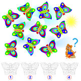 Logic puzzle. Count the number of identical butterflies. Paint them in corresponding colors. Vector cartoon image. Developing children skills for counting Stock Images