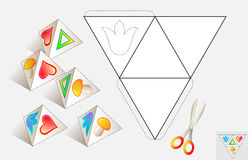 Logic puzzle. Draw the relevant images on the pattern, color and make by pyramid (as shown on the samples). Stock Photos