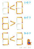 Logic puzzle. In each task add 1 matchstick to make the inequalities correct. Vector cartoon image. Scale to any size without loss of resolution Royalty Free Stock Photo