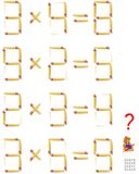 Logic puzzle. In each task move one matchstick to make the equations correct. Vector cartoon image. Scale to any size without loss of resolution Royalty Free Stock Photo