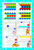 Logic puzzle exercises for children on a square paper. Find the flag for each animal. Paint the patterns in corresponding colors. Stock Photography