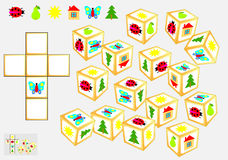 Logic puzzle. Find four identical cubes. Draw their pattern. Royalty Free Stock Photography