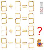 Logic puzzle. Find the only task where is possible to add one matchstick and make the equation correct. Vector cartoon image. Scale to any size without loss of Royalty Free Stock Image