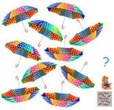 Logic puzzle. Find two identical umbrellas. Stock Photos