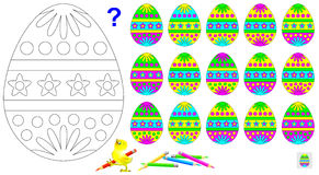 Logic Puzzle For Children. Need To Find The Only One Unpaired Egg And Paint Black And White Drawing In Corresponding Colors. Stock Image