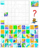 Logic puzzle game for children and adults. Find the correct place for each detail and paint the image in relevant colors. Vector cartoon image. Scale to any Stock Photo