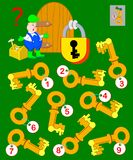 Logic puzzle game for children and adults. Help the worker find the correct key and open the lock. vector illustration