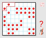 Logic puzzle game for children adults. Need to draw the lines so that each figure consists of four squares and contains two points. Vector cartoon image. Scale Stock Images