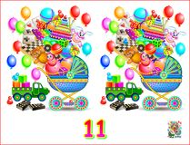 Logic puzzle game for children and adults. Need to find 11 differences. Developing children skills for counting. Vector cartoon image Royalty Free Stock Image
