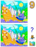 Logic puzzle game for children and adults. Need to find 9 differences. Developing skills for counting. Stock Photography