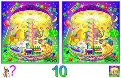 Logic puzzle game for children and adults. Need to find 10 differences. Developing skills for counting. Vector cartoon image. Scale to any size without loss of Royalty Free Stock Photography
