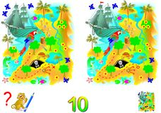 Logic puzzle game for children and adults. Need to find 10 differences. Developing skills for counting. Vector cartoon image. Scale to any size without loss of Royalty Free Stock Photos