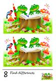 Logic puzzle game for children and adults. Need to find 8 differences. Page for baby book. Developing skills for counting. royalty free stock photography