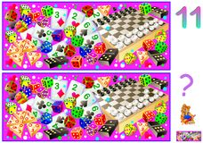 Logic puzzle game for children and adults. Need to find 11 differences. Vector cartoon image. Scale to any size without loss of resolution Stock Image