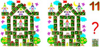 Logic puzzle game for children and adults. Need to find 11 differences. Vector cartoon image. Scale to any size without loss of resolution Stock Photo