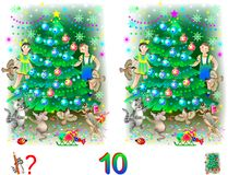 Logic puzzle game for children and adults. Need to find 10 differences. Vector cartoon image. Scale to any size without loss of resolution Royalty Free Stock Image