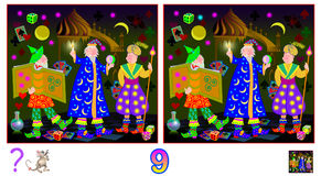 Logic puzzle game for children and adults. Need to find nine differences. Vector cartoon image. Scale any size without loss resolution Stock Images