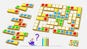 Logic puzzle game for children and adults. Need to find the places for remaining blocks and paint white circles respecting rules. Vector image. Developing stock illustration