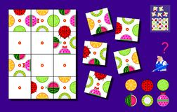 Logic puzzle game for children and adults. Need to find places for remaining squares and draw objects correctly. stock photo