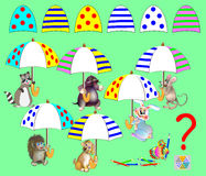 Logic puzzle game for children. Find corresponding details and to draw them in empty places. All umbrellas are identical. Stock Photography