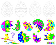 Logic puzzle game for children. Find the second part of each broken egg. Paint black and white drawings in corresponding colors. Royalty Free Stock Images