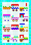 Logic puzzle game for children on a square paper. Draw and paint the picture so that all the trains became absolutely identical. Royalty Free Stock Images
