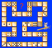 Logic puzzle game with dominoes. Solve examples. Draw corresponding number of dots to close the circuit. royalty free illustration