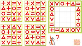 Logic puzzle game. Find the correct pattern and draw it so all rows and all columns have the different signs. Royalty Free Stock Photo