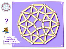 Free Logic Puzzle Game For Young Children With Labyrinth. Trace The Line And Draw The Magic Star Connecting Numbers From 1 To 20. Stock Image - 155246211