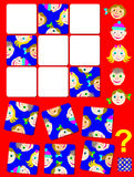 Logic puzzle game with funny faces. Need to find the correct place for each piece. Stock Photography
