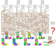 Logic puzzle game with labyrinth for children and adults. Find a pair for each sock and paint in the corresponding colors. Vector cartoon image. Scale to any Stock Photo
