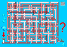 Logic puzzle game with labyrinth for children and adults. Find the way from start till end. Vector cartoon image. Scale to any size without loss of resolution Royalty Free Stock Photography