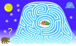 Logic puzzle game with labyrinth for children and adults. Help the bear find the way in the snow till his burrow. Vector cartoon image. Scale to any size Stock Photo