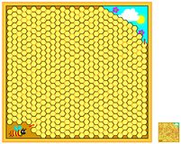Logic puzzle game with labyrinth for children and adults. Help the bee find the way out of the hive. Vector cartoon image. Scale to any size without loss of Stock Photography