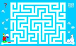 Logic puzzle game with labyrinth for children and adults. Help the boy find the way till the snowman. Vector cartoon image. Scale to any size without loss of Royalty Free Stock Image