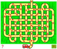 Logic puzzle game with labyrinth for children and adults. Help the car get out of the forest. Find the way from start till end. Vector cartoon image. Scale to Stock Images