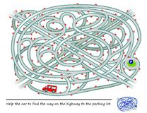 Logic puzzle game with labyrinth for children and adults. Help the car to find the way on the highway to the parking lot. Vector image. Developing children vector illustration