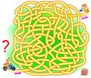 Logic puzzle game with labyrinth for children and adults. Help the cat find the way from start till end. Vector cartoon image. Scale to any size without loss of Stock Photos