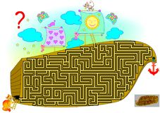 Logic puzzle game with labyrinth for children and adults. Help the cat find the way till the mouse. Vector cartoon image. Scale to any size without loss of Stock Images