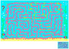 Logic puzzle game with labyrinth for children and adults. Help the fish find the way to the friend among the sea corals. Vector cartoon image. Scale to any size Stock Image