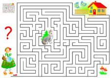 Logic puzzle game with labyrinth for children and adults. Help the Little Red Riding Hood find the way to her grandmother`s house. Vector cartoon image. Scale Royalty Free Stock Photo