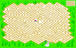 Logic puzzle game with labyrinth for children and adults. Help the rabbit find the way till the carrot. Vector cartoon image. Scale to any size without loss of Stock Photo