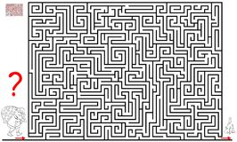 Logic puzzle game with labyrinth for children and adults. Help the Santa Claus find the way till the Christmas tree. Vector cartoon image. Scale to any size Stock Photography