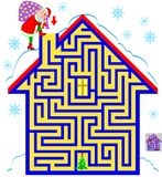 Logic puzzle game with labyrinth for children and adults. Help the Santa Claus find the way till the Christmas tree. Vector cartoon image. Scale to any size Royalty Free Stock Images