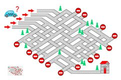 Logic puzzle game with labyrinth for children and adults. Help the taxi driver find the way to the hotel. Which road? royalty free illustration