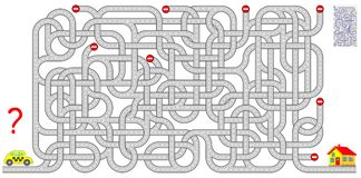 Logic puzzle game with labyrinth for children and adults. Help the taxi driver find the way to the house. Vector cartoon image. Scale to any size without loss Royalty Free Stock Photo