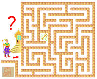 Logic puzzle game with labyrinth for children and adults. Help the wizard find the key. Stock Images