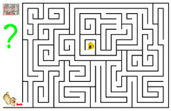 Logic puzzle game with labyrinth for children and adults. Need to help the dog find his  house. Vector image. Scale to any size without loss of resolution Stock Photos