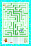 Logic puzzle game with labyrinth for children on a square paper. Help the bee find the way till the flower. Vector cartoon image. Scale to any size without loss Royalty Free Stock Images