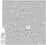 Logic puzzle game with labyrinth. Need to draw the way from the cat till the mouse. Vector image. Scale to any size without loss of resolution Royalty Free Stock Photo